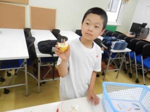 金属板をレモンまたは水のはいったコップに入れます。こちらの生徒さんは、レモンをいれたようですね^▽^